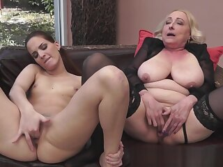 Granny orally pleasured far X stockings