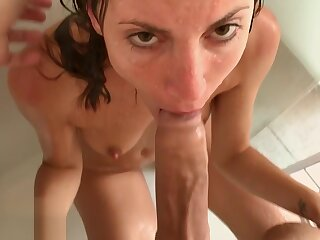 Three Cumshot hither Public Flashes increased by Shower Copulation -Amateur Coupler MySweetApple