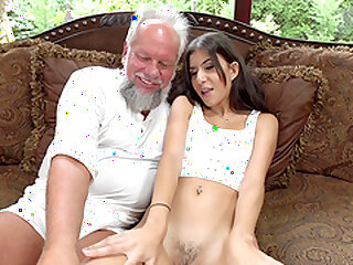 Teen subfuscous Anya Krey fucked almost an too for swallows cum for an senior pauper