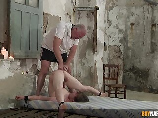 Slim twink endures old man's dirty punishment in serious anal BDSM order